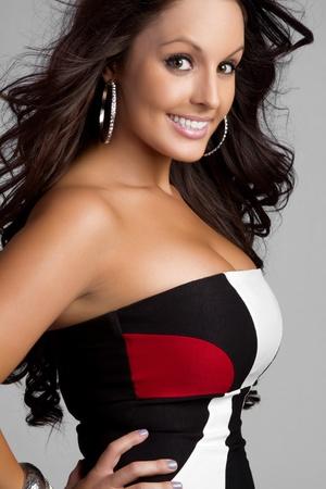 Beautiful young smiling fashion woman photo