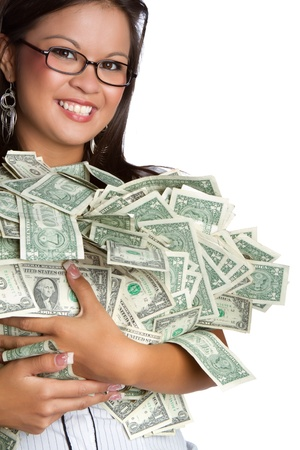 bundle: Smiling asian woman holding money LANG_EVOIMAGES