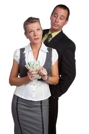 Business man woman holding money photo