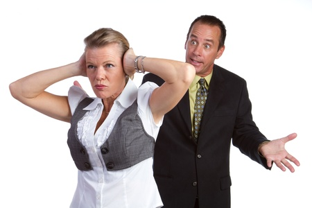 Middle aged isolated couple fighting photo