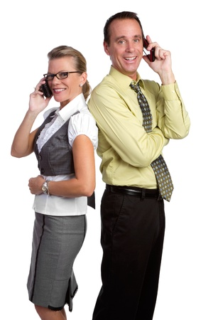 Business people using cell phones photo
