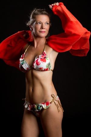 Beautiful middle aged bikini woman photo