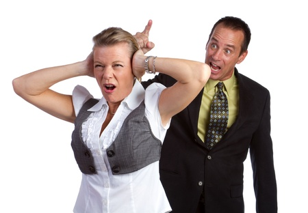 Angry isolated couple fighting arguing photo