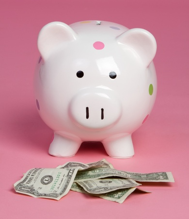 Piggy bank money pink background Stock Photo - 10231441