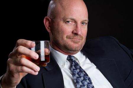 scotch: Man drinking scotch whiskey alcohol