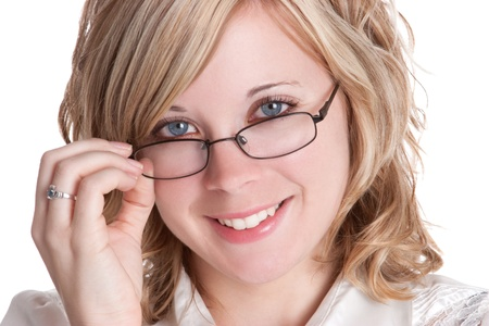 Beautiful blond woman wearing glasses photo