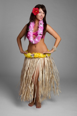 Beautiful hawaiian hula dancer girl photo