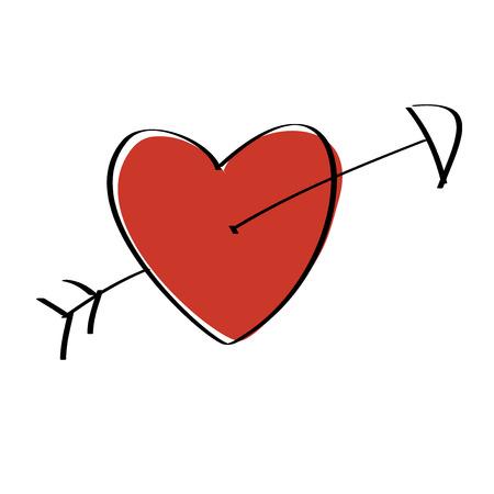 pierced: Heart pierced with arrow Illustration