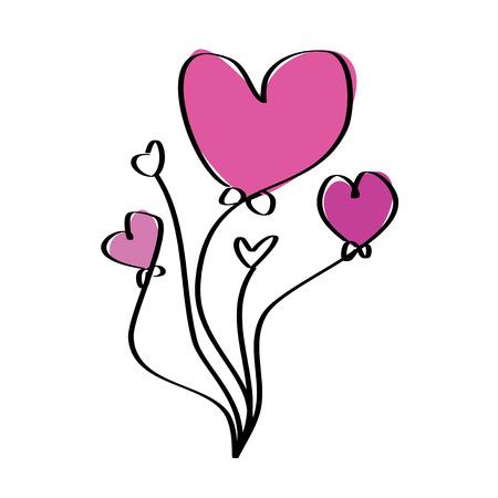 Pink purple love heart balloons