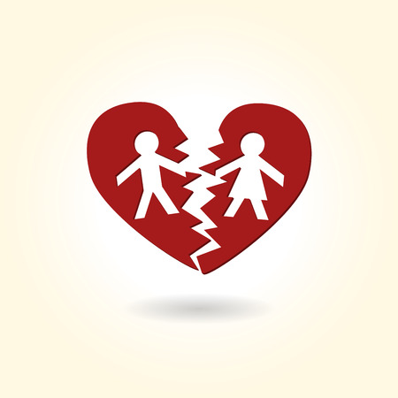 Separated divorced broken heart couple Vector