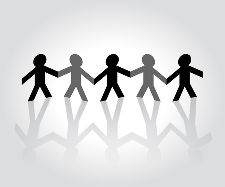 folded hands: Cutout paper people holding hands Illustration