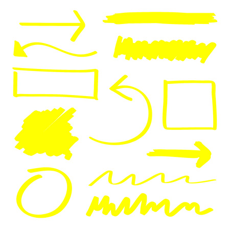 Yellow vector highlighter elements set  イラスト・ベクター素材