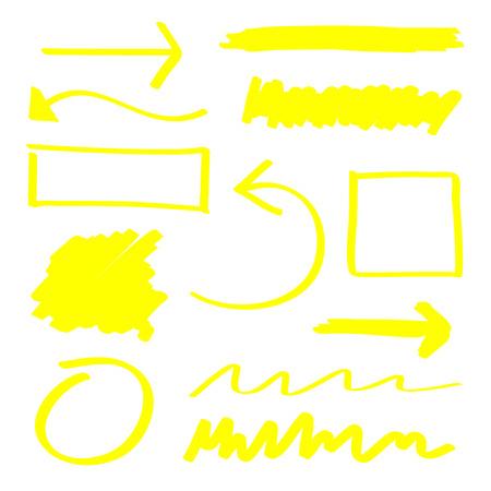 노란색 벡터 형광펜 요소 세트