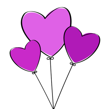 Three pink love heart balloons