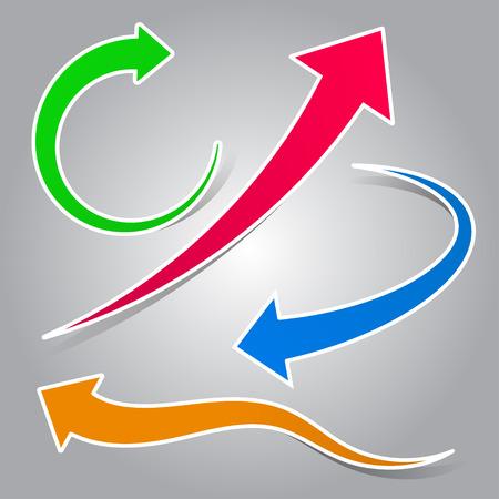 flechas curvas: Conjunto colorido flecha curva ilustración
