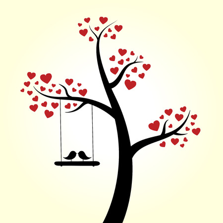 Love heart tree love birds Vector