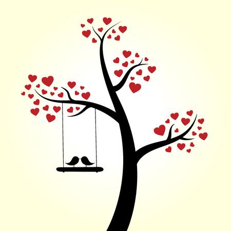 Love heart tree love birds