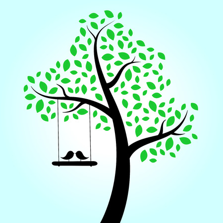 passion ecology: Love birds swinging in tree
