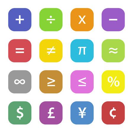 Símbolos financieros de colores de matemáticas establecidas