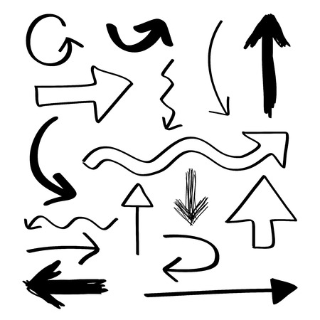 Hand drawn arrows collection set Vector