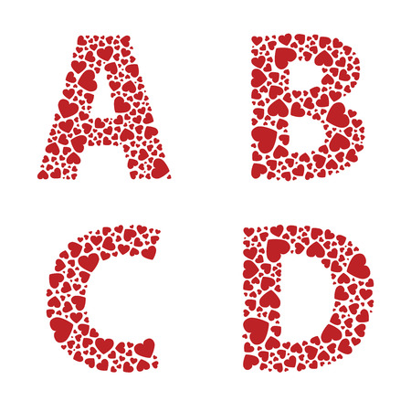 b day: ABCD heart alphabet letters font