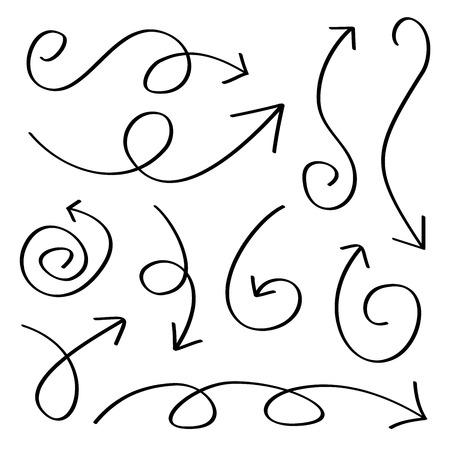 squiggly: Hand drawn sketch arrows set