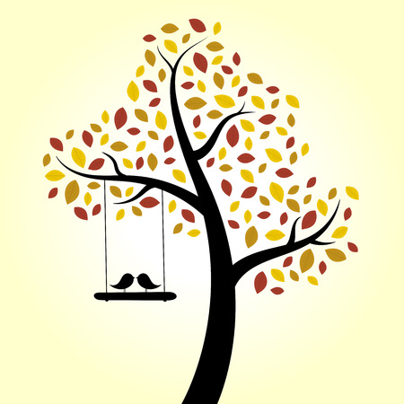 Autumn love birds tree swing Vector