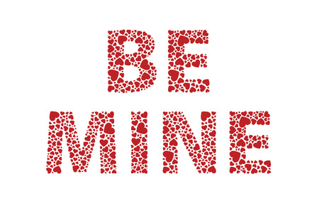 be mine: Be mine red love hearts Illustration
