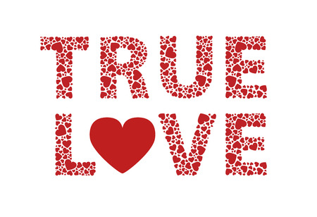 True love red hearts text