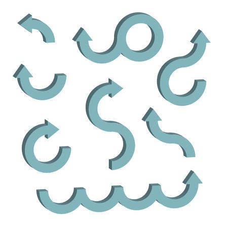 Blue 3D arrows elements set Çizim