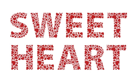 sweetheart: Sweetheart red love hearts text
