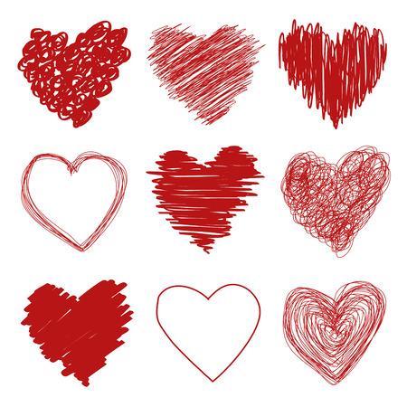 Hand drawn scribble sketch hearts Vector