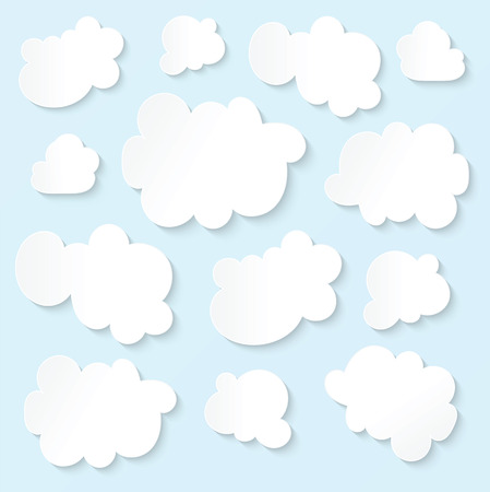 Fluffy white clouds blue sky Vector
