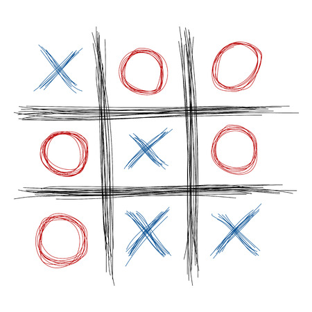 toe: Scribble tic tac toe illustration Illustration