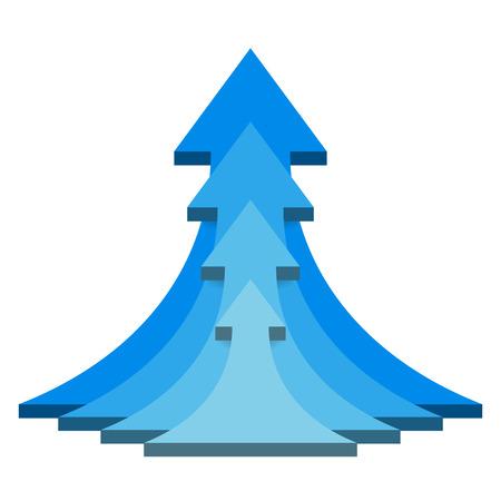 progress steps: Blue 3D up arrows concept