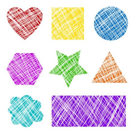 Colorful grunge scratched shapes illustration