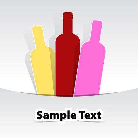 Wine bottles drink menu illustration