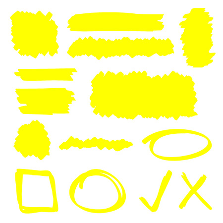 Yellow highlighter marker illustration set
