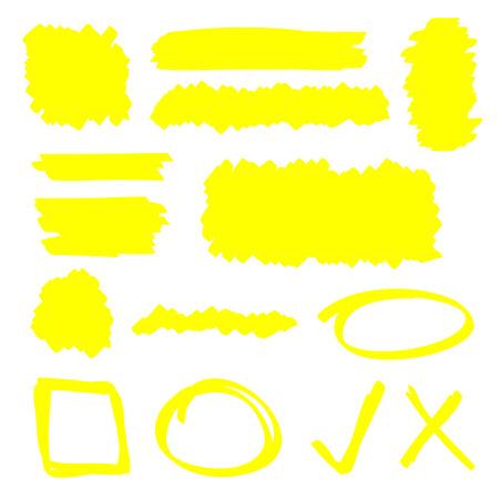 yellow line: Yellow highlighter marker illustration set