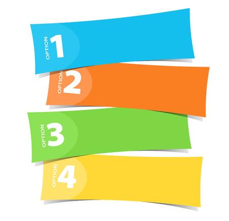 네 가지 색상 배너 서식 파일 그림 일러스트