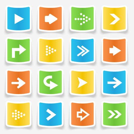 key pad: Colorful square arrow sticker icons