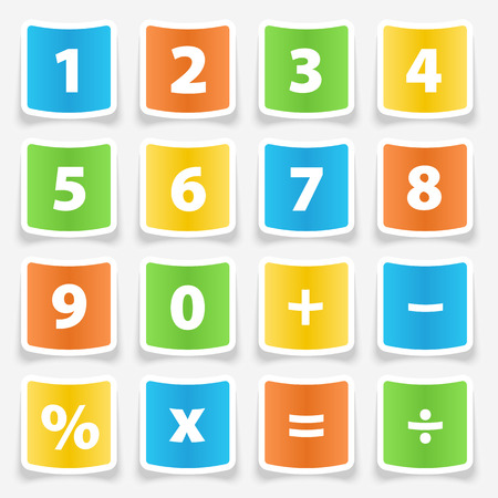 digital number: Calculator button number stickers illustration