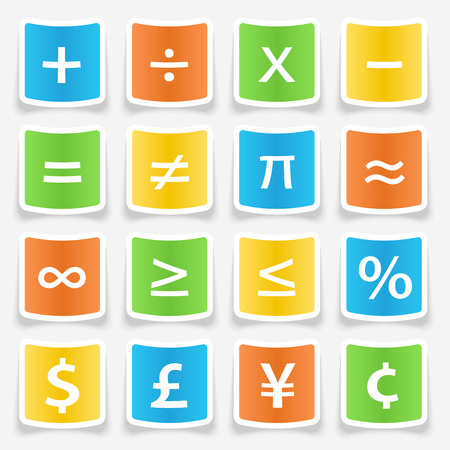 Math symbol stickers web buttons Stock Vector - 35082323