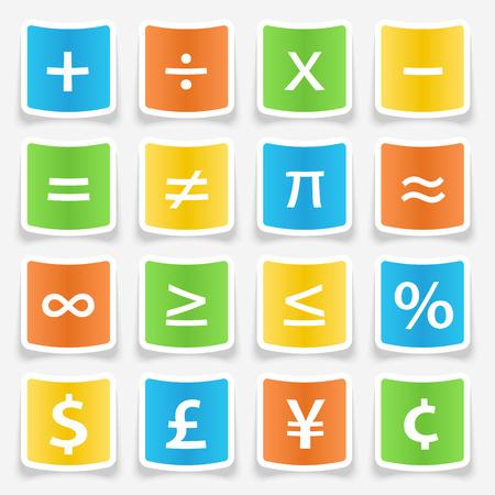 key pad: Math symbol stickers web buttons