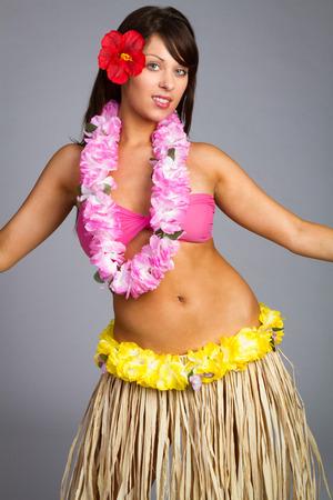 hula: Beautiful hawaiian hula dancer girl Stock Photo
