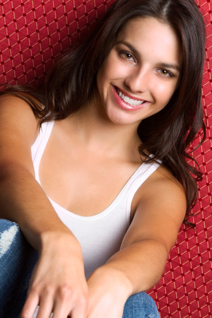 pretty brunette woman: Pretty smiling young brunette woman Stock Photo