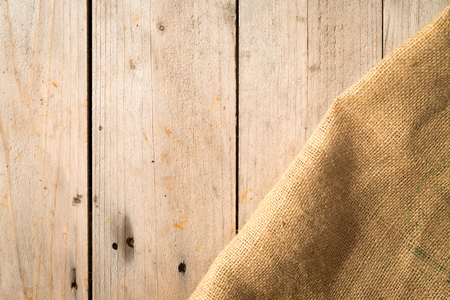 burlap sack: Wooden boards and burlap sack Stock Photo