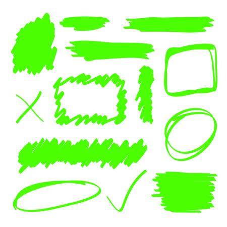 Green highlighter marker elements set