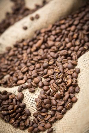 decaffeinated: Burlap sack of coffee beans