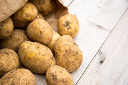 rustic: Dirty raw rustic white potatoes